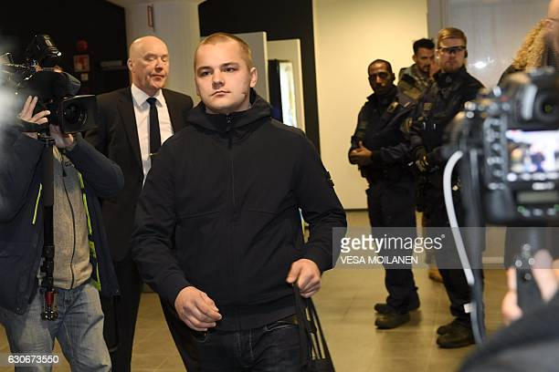 Picture taken on December 21 2016 shows Jesse Torniainen a member of the Finnish neoNazi group Finnish Resistance Movement during his trial at the...