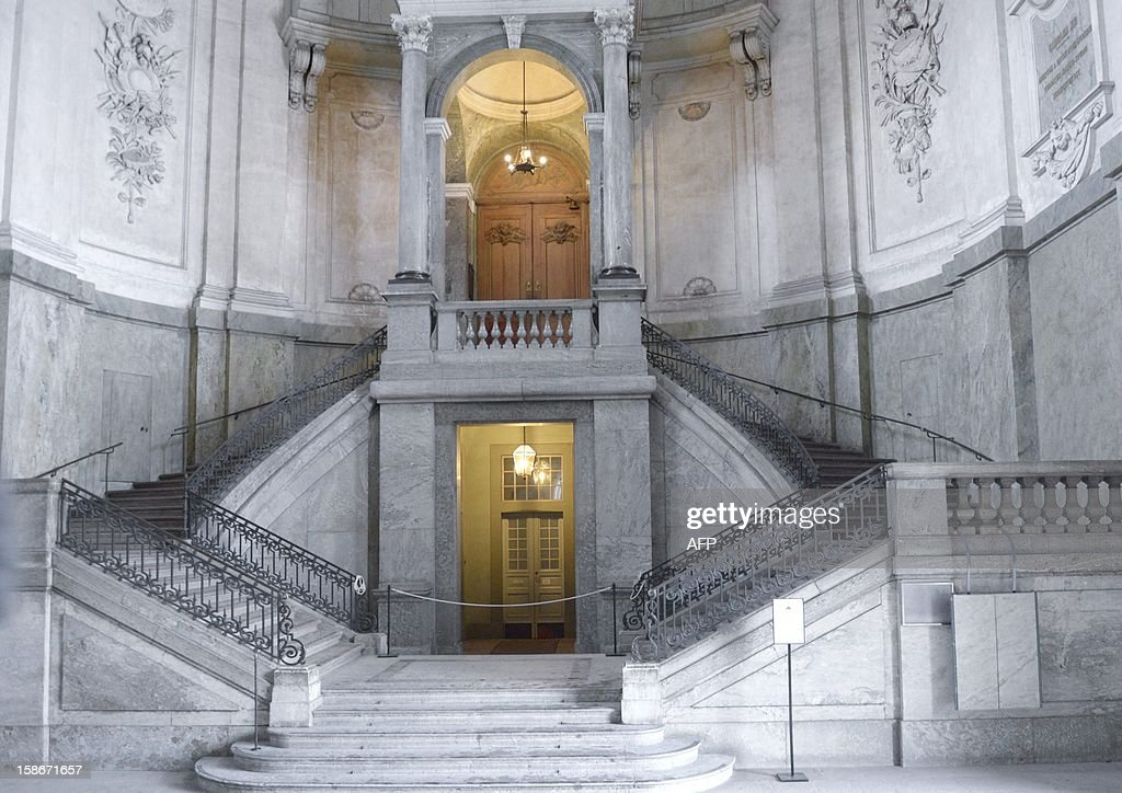 Picture taken on December 23, 2012 shows the entrance to the church of the Stockholm Royal Palace in Sweden. It was announced by the royal court that Swedish Princess Madeleine and her fiancé Chris O'Neill will get married in the palace church on June 8, 2013.