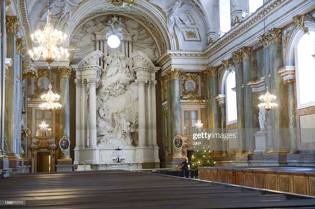 Picture taken on December 23, 2012 shows the interior of the church of the Stockholm Royal Palace in Sweden. It was announced by the royal court that Swedish Princess Madeleine and her fiancé Chris O'Neill will get married in the palace church on June 8, 2013.