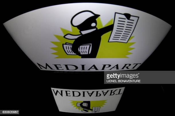 A picture taken on December 28 2016 in Paris shows the logo of Mediapart an independant news website In the wake of Mediapart independent news sites...