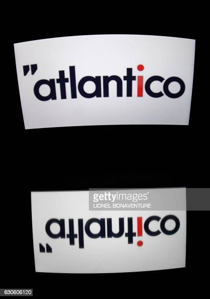 A picture taken on December 28 2016 in Paris shows the logo of Atlantico an independant news website Independent news sites are multiplying in the...