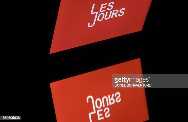 A picture taken on December 28 2016 in Paris shows the logo of 'Les Jours' an independant news website Independent news sites are multiplying in the...