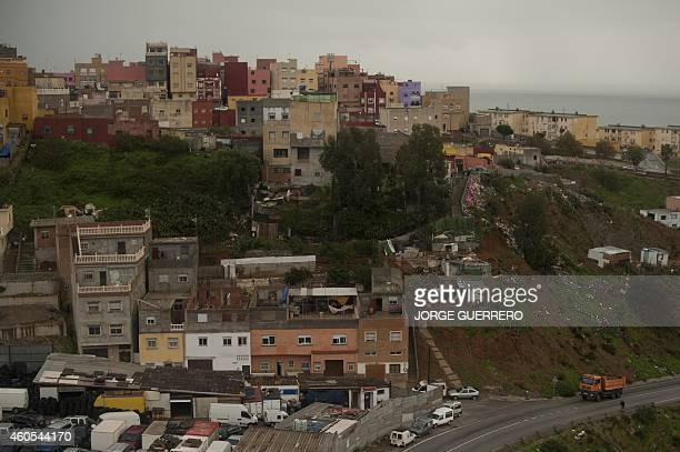 A picture taken on December 3 2014 is a general view of El Principe district in Ceuta This 99% Muslim area in Ceuta neighbouring the Moroccan city of...