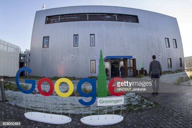 A picture taken on December 6 2016 shows Google Groningen logo for the office during the opening of the new Google data center in Eemshaven near...
