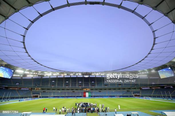 A picture taken on December 6 shows a general view of the Sheikh Jaber AlAhmad International Stadium in Kuwait City during a tour of the facilities...