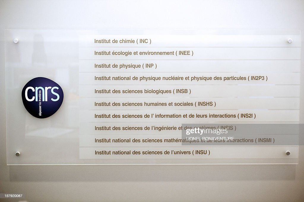A picture taken on December 7, 2012 shows a logo of the Centre national de la recherche scientifique (CNRS) (French National Centre for Scientific Research) in Paris. AFP PHOTO / LIONEL BONAVENTURE