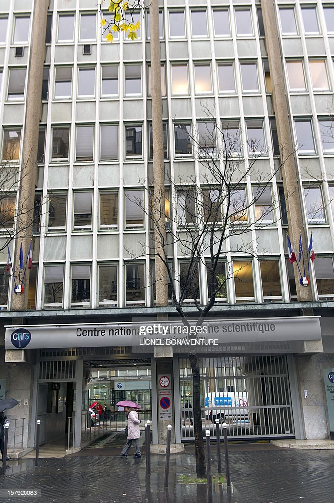 A picture taken on December 7, 2012 shows the entrance of the Centre national de la recherche scientifique (CNRS) (French National Centre for Scientific Research) in Paris.