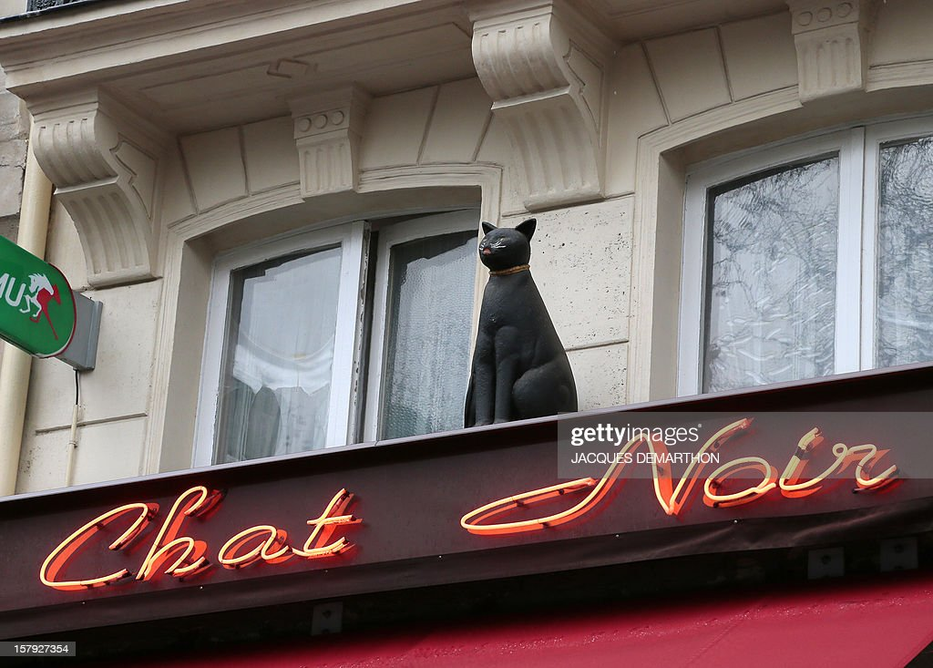 A picture taken on December 7, 2012 shows the store name of a cafe called 'Le chat noir' (the black cat) in Paris. AFP PHOTO/JACQUES DEMARTHON