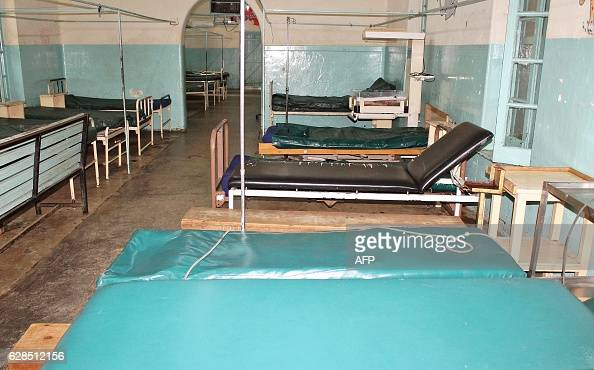 A picture taken on December 8 2016 shows an empty and unstaffed ward at the Kisumu County Hospital in Kisumu Kenyan medics and hospitals workers have...