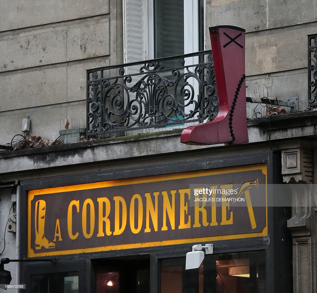 A picture taken on February 1, 2013 shows the facade of a shoe repair shop in Paris.
