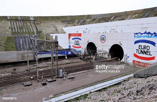 A picture taken on February 10 2014 near Coquelles northern France shows the entrance of the Eurotunnel The train tunnel which runs beneath the...