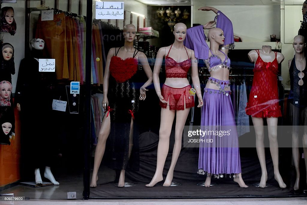 A picture taken on February 10, 2016 in Damascus shows a shop window displaying women clothes and underwear ahead of Valentine's day. / AFP / JOSEPH EID