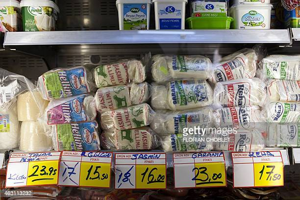 A picture taken on February 10 shows traditional Cypriot halloumi cheese displayed at a shop in the unrecognized Turkishcontrolled northern sector of...