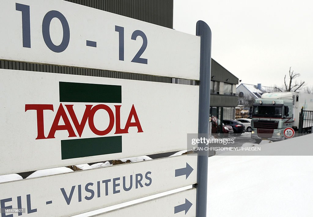 A picture taken on February 11, 2013 in Capellen shows an information board near the Tavola plant, a subsidiary of Comigel which supplies frozen meals to supermarket chains and other clients to around 15 countries. The French food company Comigel which supplied frozen lasagne to British supermarkets found to contain up to 100 percent horsemeat, today shut down its website and declined to answer media enquiries. It risks being subject to large fines as a result of the scandal, even if it is discovered that the alleged fraud has been committed by its suppliers.