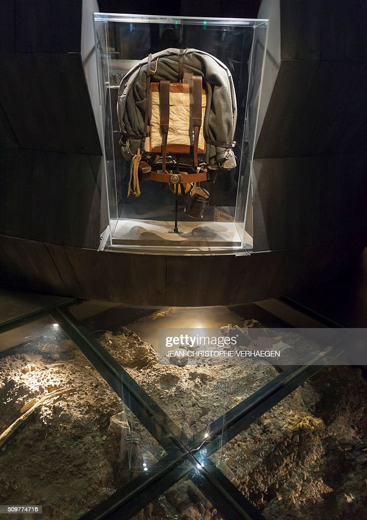 A picture taken on February 12, 2016 in Fleury-devant-Douaumont, eastern France shows soldiers belongings and equipment displayed for the exhibition that commemorate the 1916 Battle of Verdun in the redesigned Memorial of Verdun. The memorial will reopen on February 22, 2016. / AFP / JEAN-CHRISTOPHE VERHAEGEN