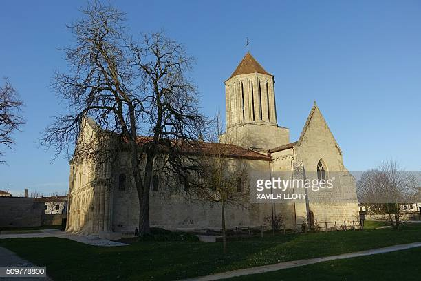 A picture taken on February 12 2016 shows the church of Surgeres where Bernard Housset bishop of La Rochelle conducted a mass for the victims of the...