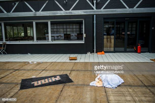A picture taken on February 12 2017 shows an exterior view of the Wavre Indoor Karting in Wavre a suburban town about 30 kilometres southeast of...