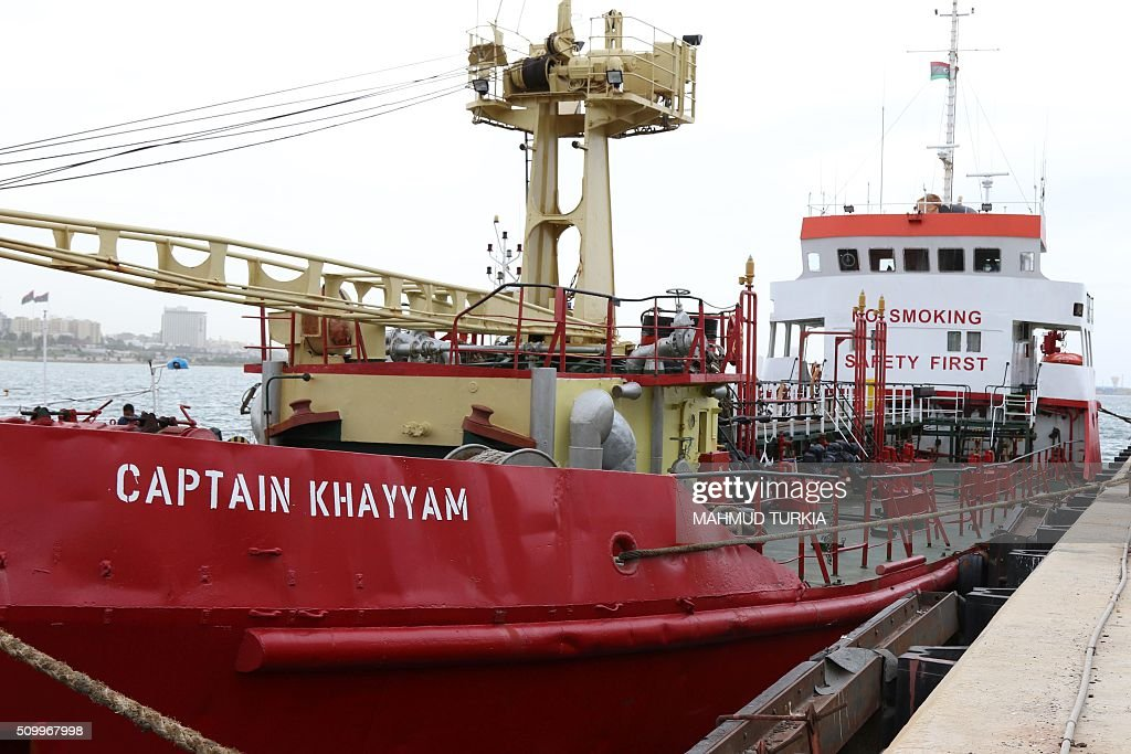 A picture taken on February 13, 2016 shows an oil tanker, called 'Captain Khayyam' at Tripolis maritime base after it was caught by the coastal authorities in Libyan waters as its crew was trying to smuggle fuel. / AFP / MAHMUD TURKIA