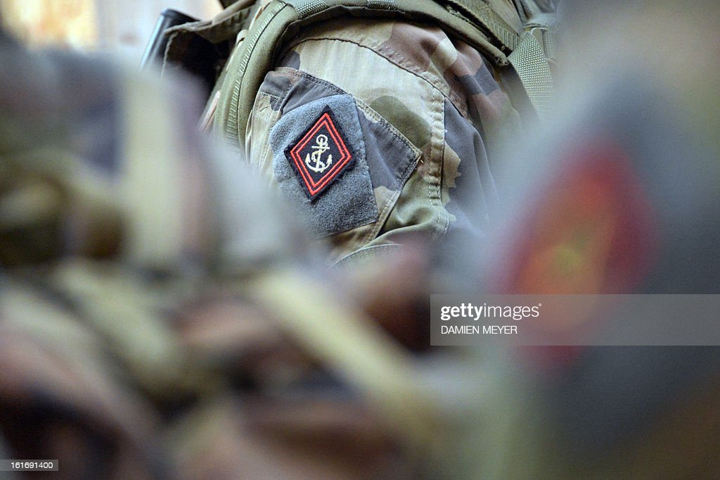 A picture taken on February 14, 2013 during a drill in Meucon, western France, shows the emblem of French soldiers from third RIMA (Marine Infantry Regiment).