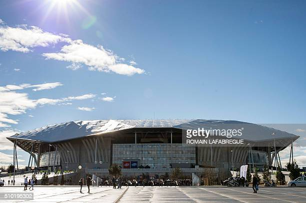 A picture taken on February 14 2016 shows the Parc de l'Olympique Lyonnais in DecinesCharpieu central eastern France before the French L1 football...