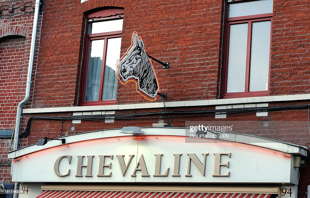A picture taken on February 15, 2013 shows a horsemeat butcher in Roubaix, northern France.