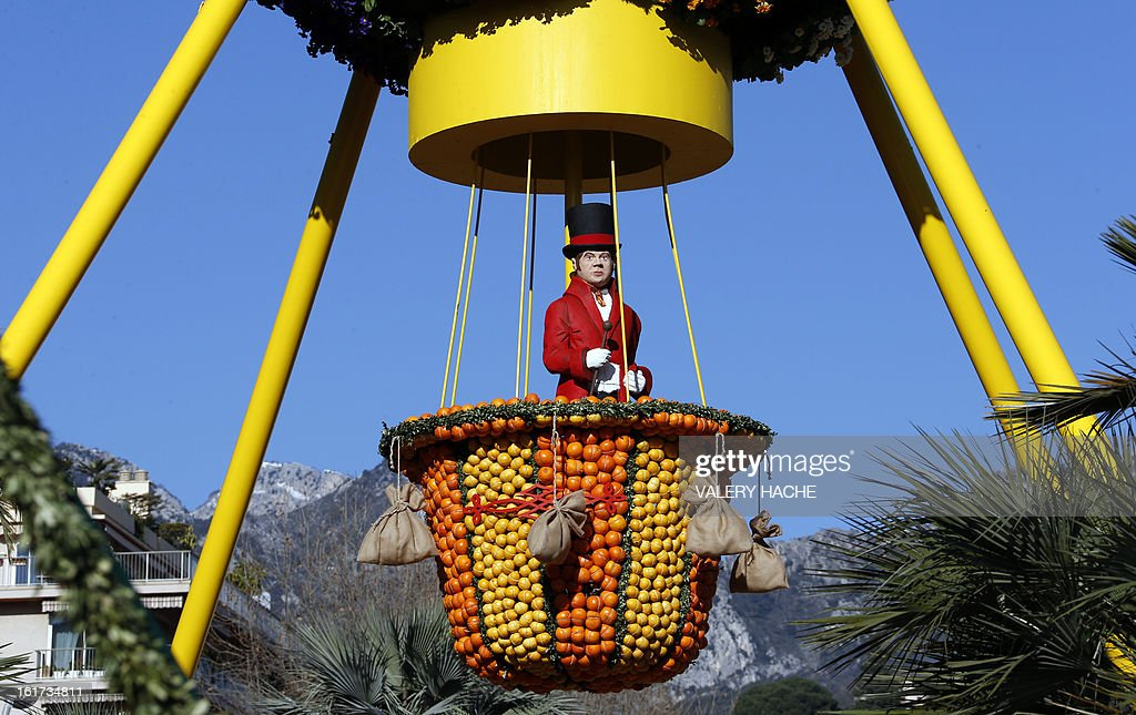 A picture taken on February 15, 2013 shows 'La Montgofiere' a sculpture made of oranges and lemons, in Menton on the French Riviera, ahead of the start of the 'Fete du Citron' (lemon carnival). The theme of this 80th edition, running from February 16 until March 6, 2013, is 'Le Tour du monde en 80 jours' (80 days around the world).