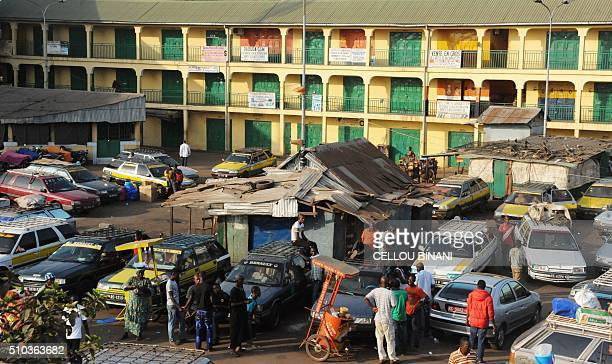 A picture taken on February 15 2016 shows closed stores in a street of Conakry on February 15 on the day of a nationwide general strike in Guinea...