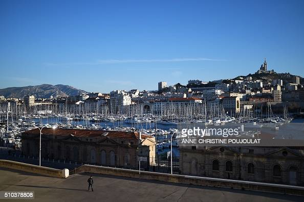 A picture taken on February 15 2016 shows the Old Port of NotreDame de la Garde in Marseille The city of Marseille should host sailing events and...