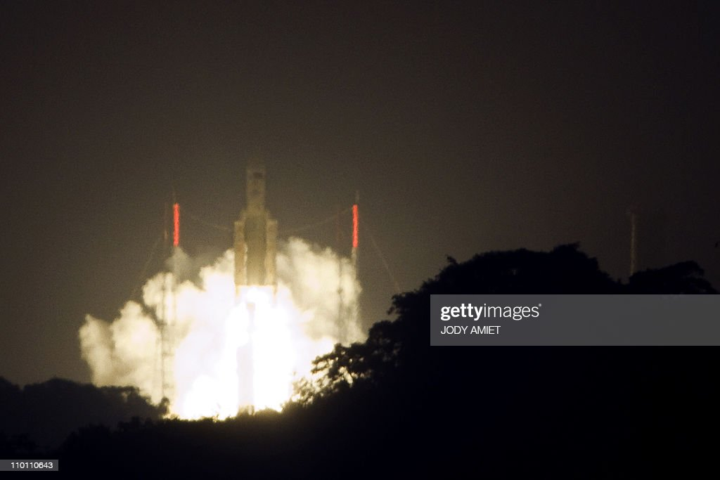 A picture taken on February 16, 2011 shows the Ariane 5 rocket taking off from its lauch site in Kourou on February 16, 2011, carriying Europe's second automated transfer vehicle (ATV-2). The sophisticatedly designed spacecraft, named after German astronomer and mathematician Johannes Kepler, is due to resupply the International Space Station (ISS).
