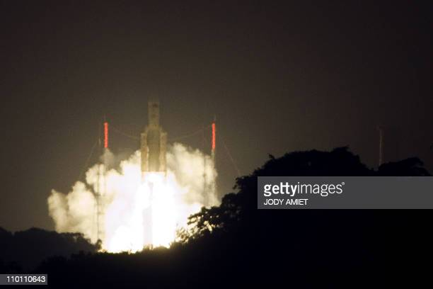 A picture taken on February 16 2011 shows the Ariane 5 rocket taking off from its lauch site in Kourou on February 16 carriying Europe's second...