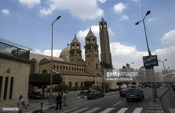 A picture taken on February 16 2015 shows SaintMark's Coptic Cathedral in Cairo's alAbbassiya district where Egypt's Coptic Pope Tawadros II receives...