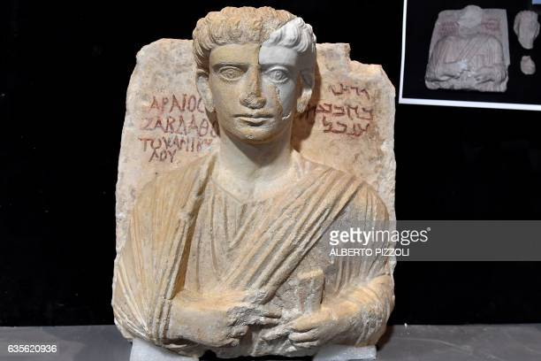A picture taken on February 16 2017 shows a man bust which is one of the two funeral reliefs from Palmyra archeological site that will be restored at...