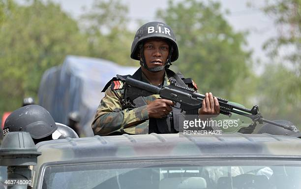 A picture taken on February 17 2015 show Cameroonese soldiers patrolling in city of Waza northern Cameroon Cameroon's army says it has killed 86 Boko...