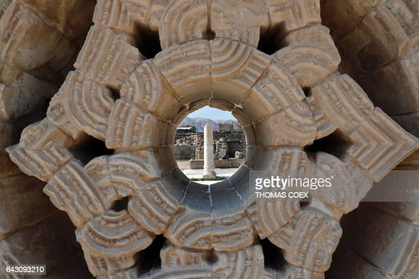 Picture taken on February 18 2017 shows a column through the Sultan Star at the archaeological site of Hisham's Palace on the outskirts of the West...