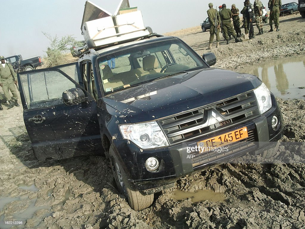 A picture taken on February 19, 2013 in Dabanga near the Nigerian border shows the 4x4 in which seven members of a French family were driving before being seized in a kidnapping allegedly carried out by Nigerian Islamist group Boko Haram. The family -- a couple, their children aged five, eight, 10 and 12 and an uncle -- were snatched in northern Cameroon by six gunmen on three motorbikes on Tuesday and officials said they had been taken across the border into Nigeria.