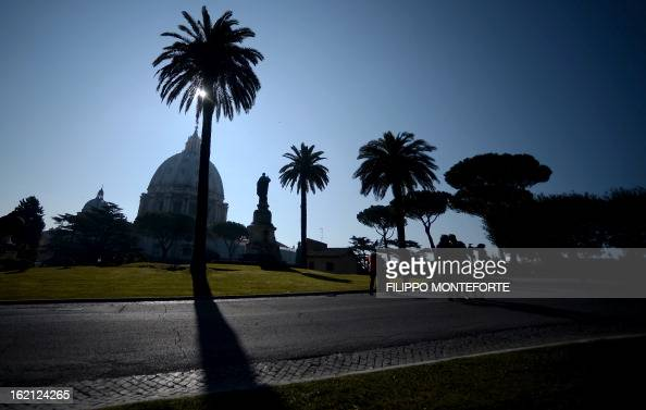 Picture taken on February 19 2013 shows the St Peter's Basilica at the Vatican City State Pope Benedict XVI will be hosted in the convent of Mater...