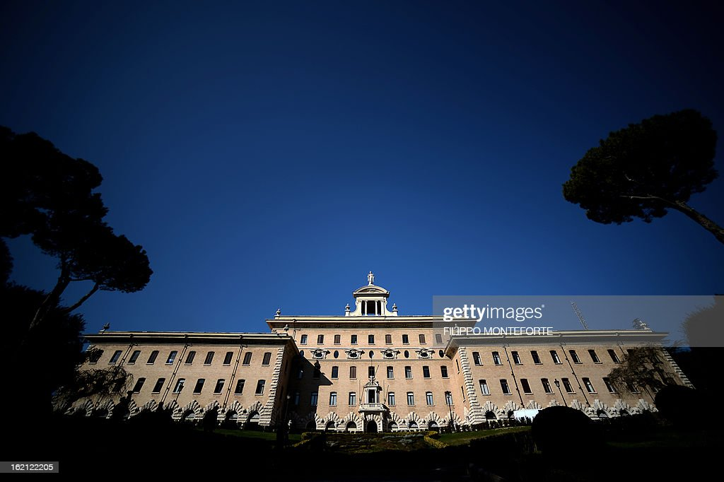 A picture taken on February 19, 2013 shows the Vatican government palace, the Palazzi del Governatorato at the Vatican City State. Pope Benedict XVI will be hosted in the convent of Mater Ecclesiae (Mother of the Church) offering him a substantial four-story modern home complete with contemporary chapel, garden and a roof terrace looking out from a rise dominated by the Holy See's TV transmission tower. Pope Benedict XVI began a week-long spiritual retreat out of the public eye on Monday ahead of his resignation on February 28 with the field of candidates to succeed him still wide open. AFP PHOTO/ Filippo MONTEFORTE