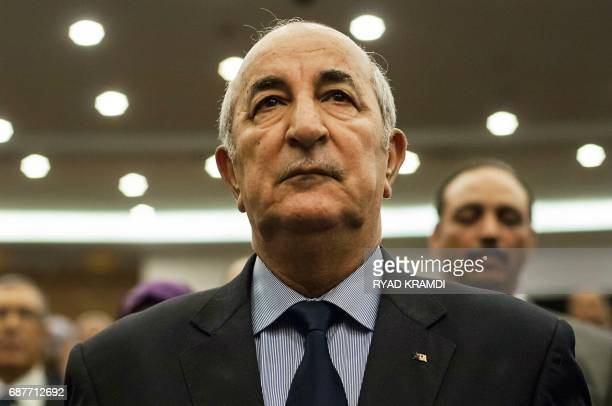 A picture taken on February 2 2016 shows Abdelmadjid Tebboune during a meeting of the National Liberation Front in Algeria Algerian President...