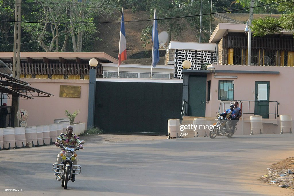 A picture taken on February 20, 2013 in the Cameroonian capital Yaounde shows an entrance of France's embassy. French ambassador in Yaounde announced a 'red zone' was placed across northern Cameroonian and Nigerian borders on February 20, one day after seven members of a French family were seized in a kidnapping allegedly carried out by Nigerian Islamist group Boko Haram. French hostages seized in Cameroon are assumedly freed according to a military source on February 21, without further confirmation from French officials. The family -- a couple, their children aged five, eight, 10 and 12 and an uncle -- were snatched in northern Cameroon by six gunmen on three motorbikes on February 19 and officials said they had been taken across the border into Nigeria.