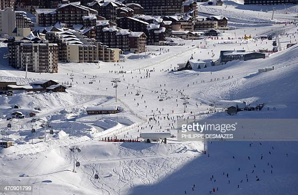 A picture taken on February 20 2014 shows the Val Thorens ski station in the French Alps AFP PHOTO/PHILIPPE DESMAZES