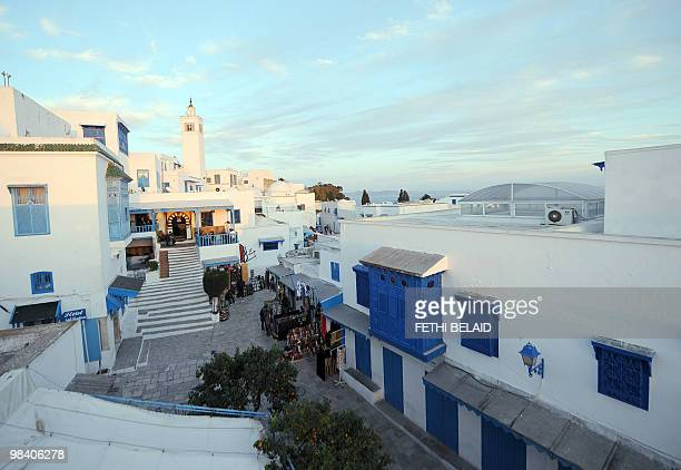 A picture taken on February 22 2010 shows the 'Cafe des Nattes'in the village of Sidi Bou Said overlooking the Tunisian golf Sidi Bou Said which has...