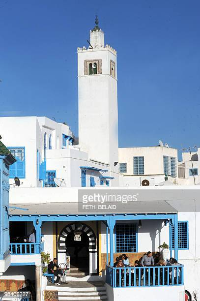 A picture taken on February 22 2010 shows the famous Cafe des Nattes on a hill in the village of Sidi Bou Said overlooking the Tunisian golf Sidi Bou...