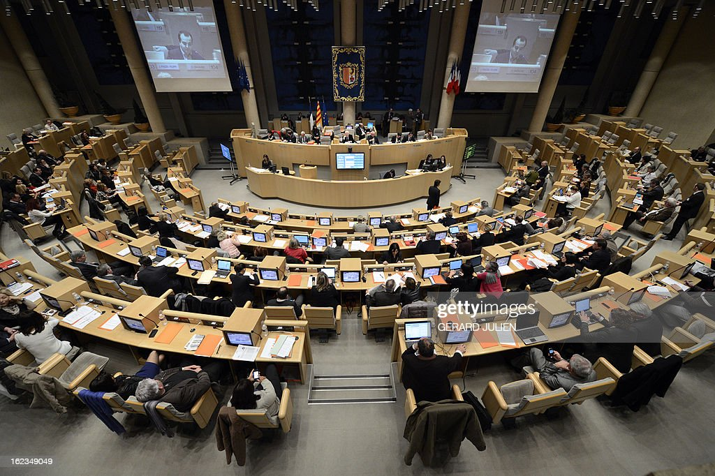 A picture taken on February 22, 2013 in Marseille shows the benches of the Paca region assembly during a plenary session.