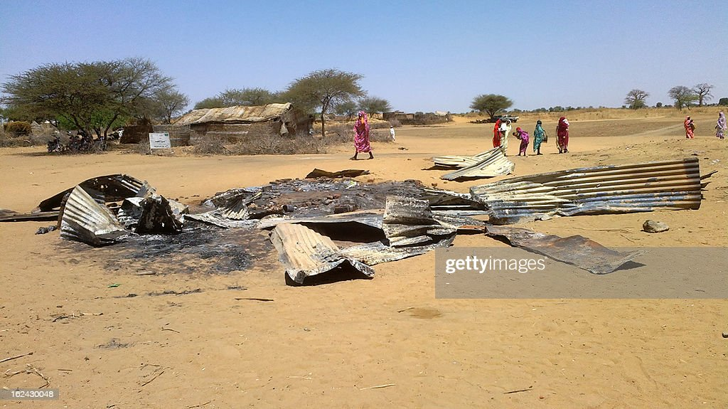 A picture taken on February 22, 2013 shows the remains of a house destroyed in a bombing by Sudan's air force on Derib al Reih village in South Darfur state. AFP PHOTO/STR