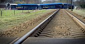 TOPSHOT A picture taken on February 23 shows the scene of a derailed passenger train near Dalfsen eastern Netherlands after it collided with a...