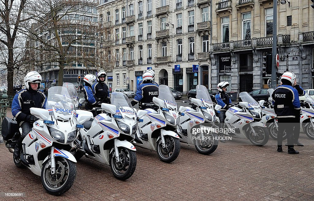 A picture taken on February 25, 2013 shows French police motorcyclists in Lille, northern France.