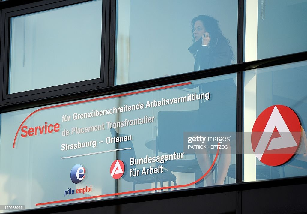 A picture taken on February 26, 2013 in Kehl, south-western Germany shows the office of the first French-German job center, during its inauguration ceremony. Pole emploi and Agentur fur Arbeit signed a cooperation agreement for the placement of cross-border jobless.
