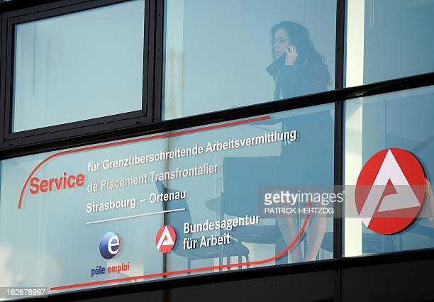 A picture taken on February 26 2013 in Kehl southwestern Germany shows the office of the first FrenchGerman job center during its inauguration...