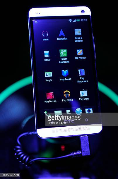 A picture taken on February 26 2013 shows a new smartphone 'One X' by HTC at the 2013 Mobile World Congress in Barcelona The 2013 Mobile World...