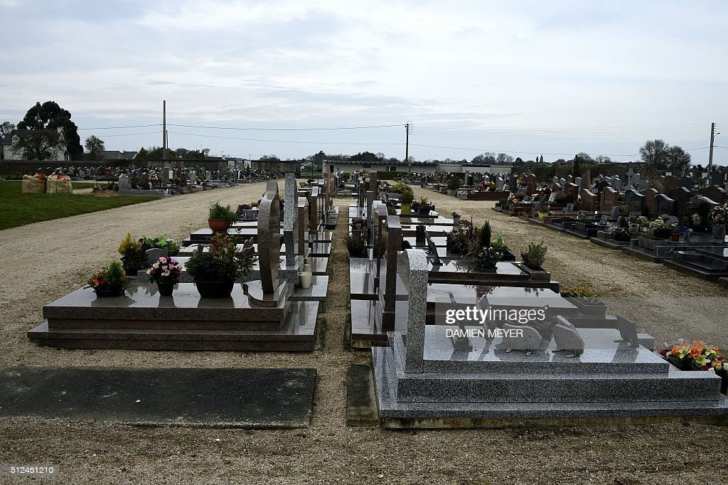 A picture taken on February 26 2016 shows graves in EtablessurMer cemetery western France SaintBrieuc's prosecutor has opened a criminal...